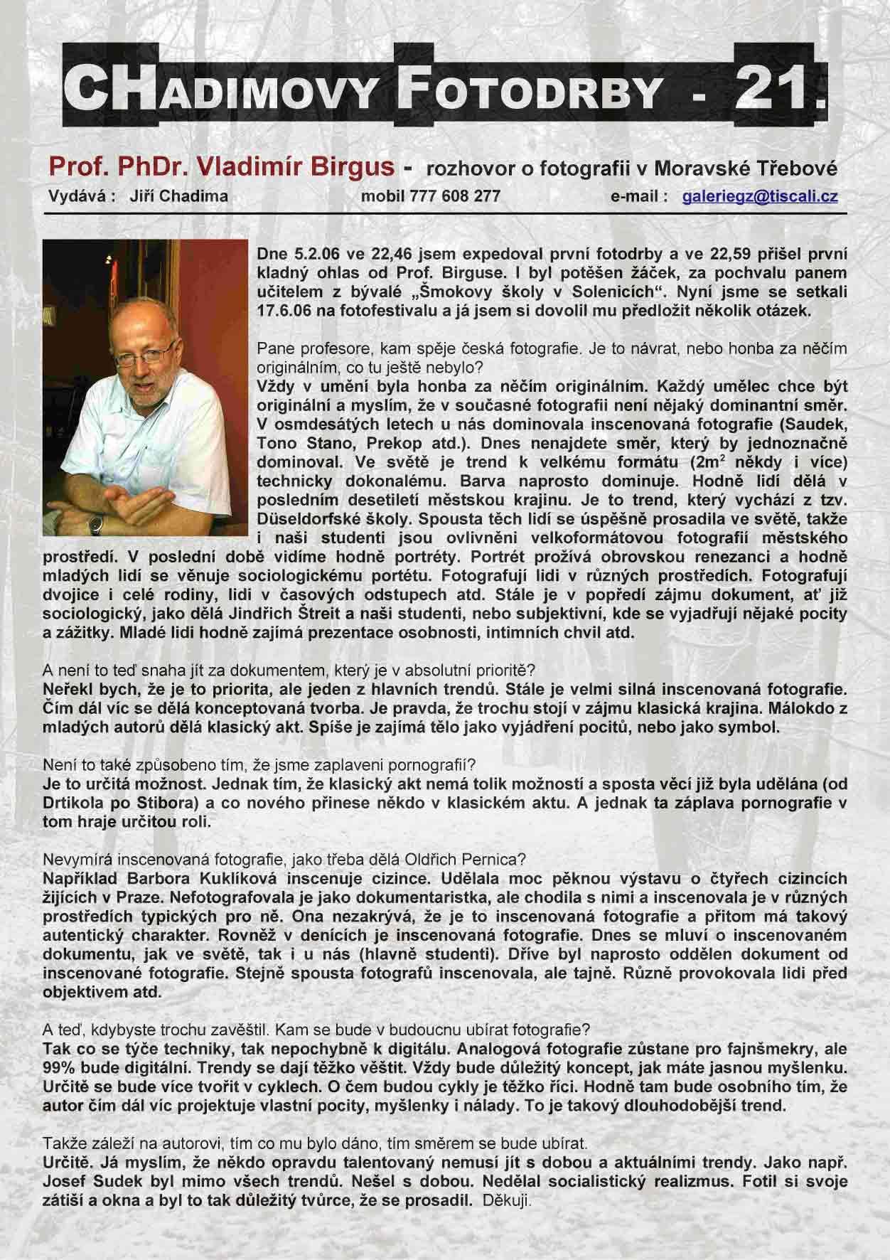 Fotorevue 21 – Vladimír Birgus – rozhovor