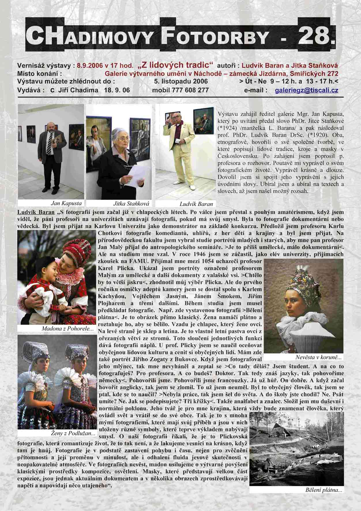 """Fotorevue 28 – Ludvík Baran a Jitka Staňková """"Z lidových tradic"""""""