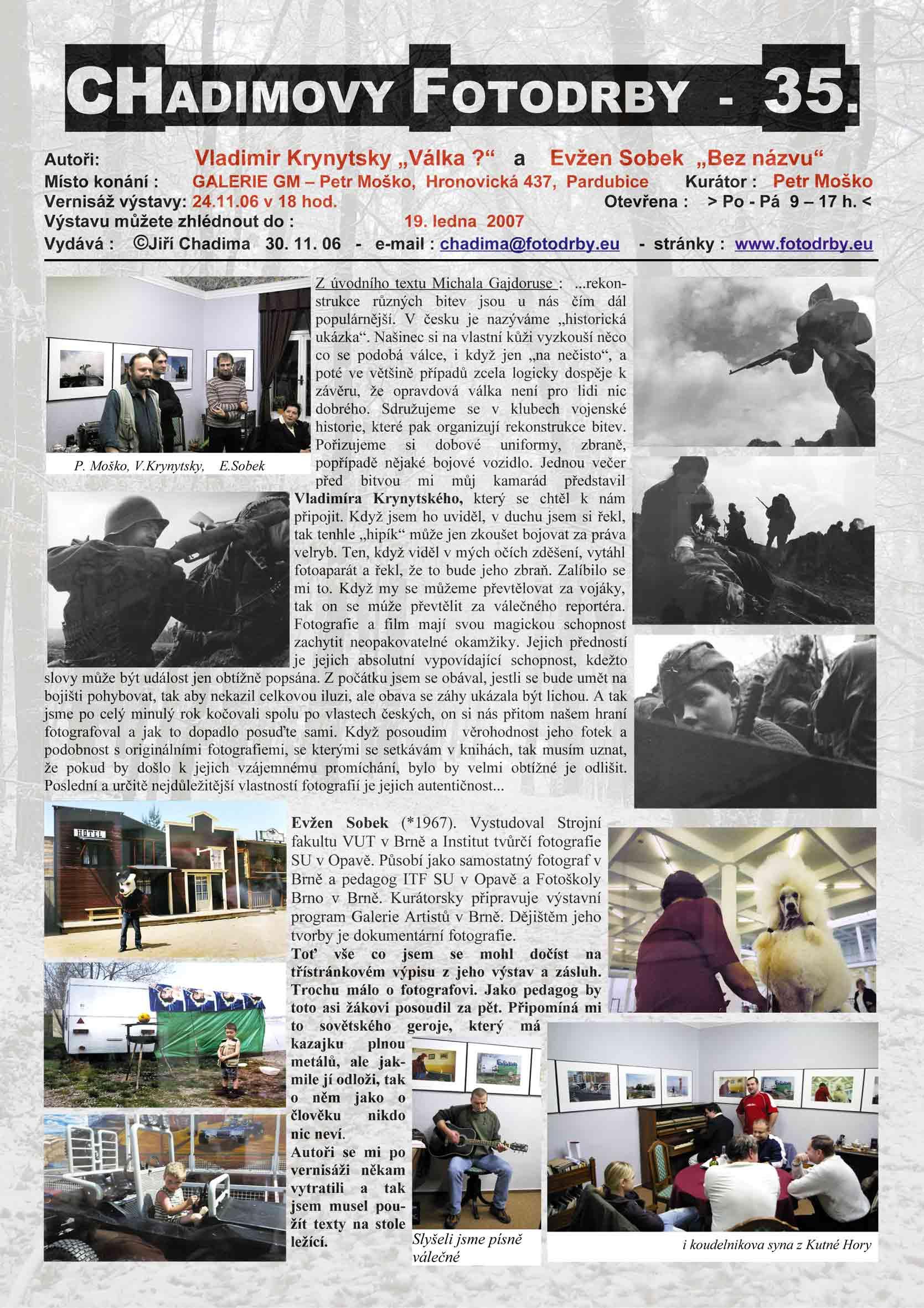 "Fotorevue 35 – Vladimir Krynytsky ""Válka ?"" a Evžen Sobek ""Bez názvu"""