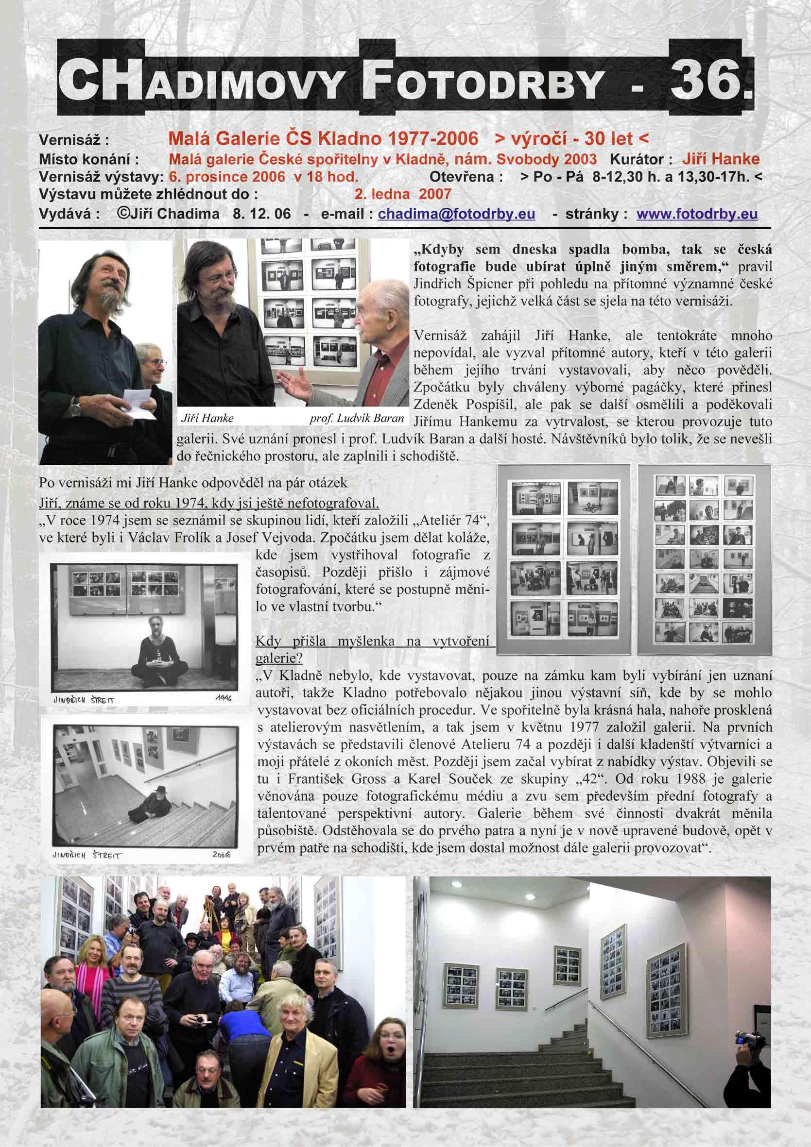"""Fotorevue 36 – Malá Galerie ČS Kladno 1977 – 2006 """"Výročí – 30 let"""""""