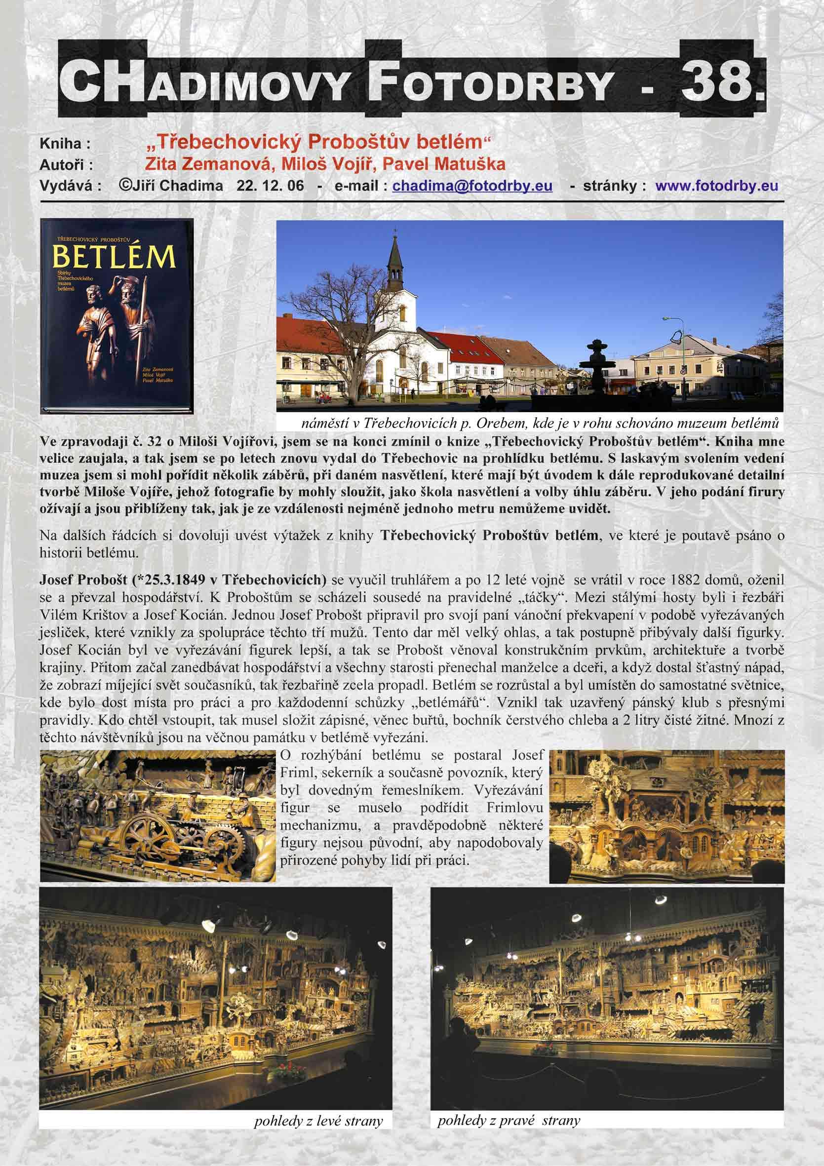 """Fotorevue 38 – Zita Zemanová, Miloš Vojíř, Pavel Matuška """"Třebechovický Proboštův betlém"""""""