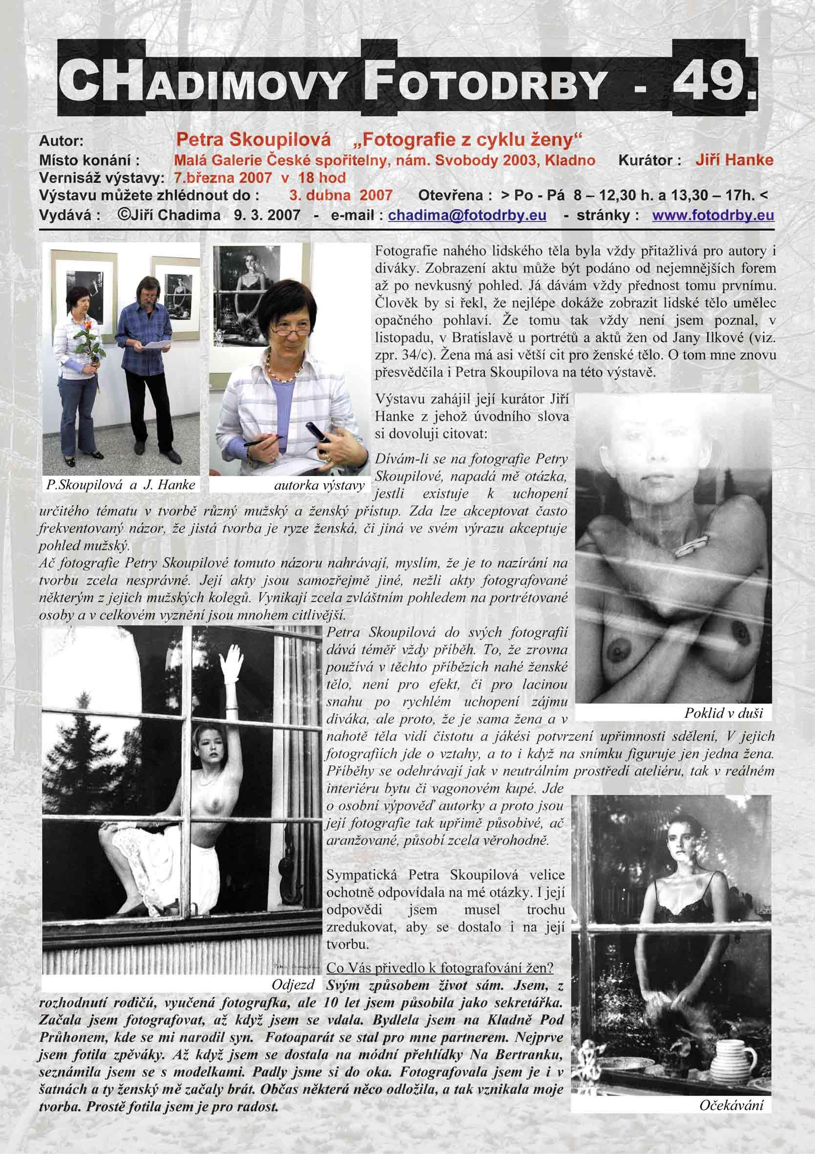 """Fotorevue 49 – Petra Skoupilová """"Fotografie z cyklu ženy"""""""