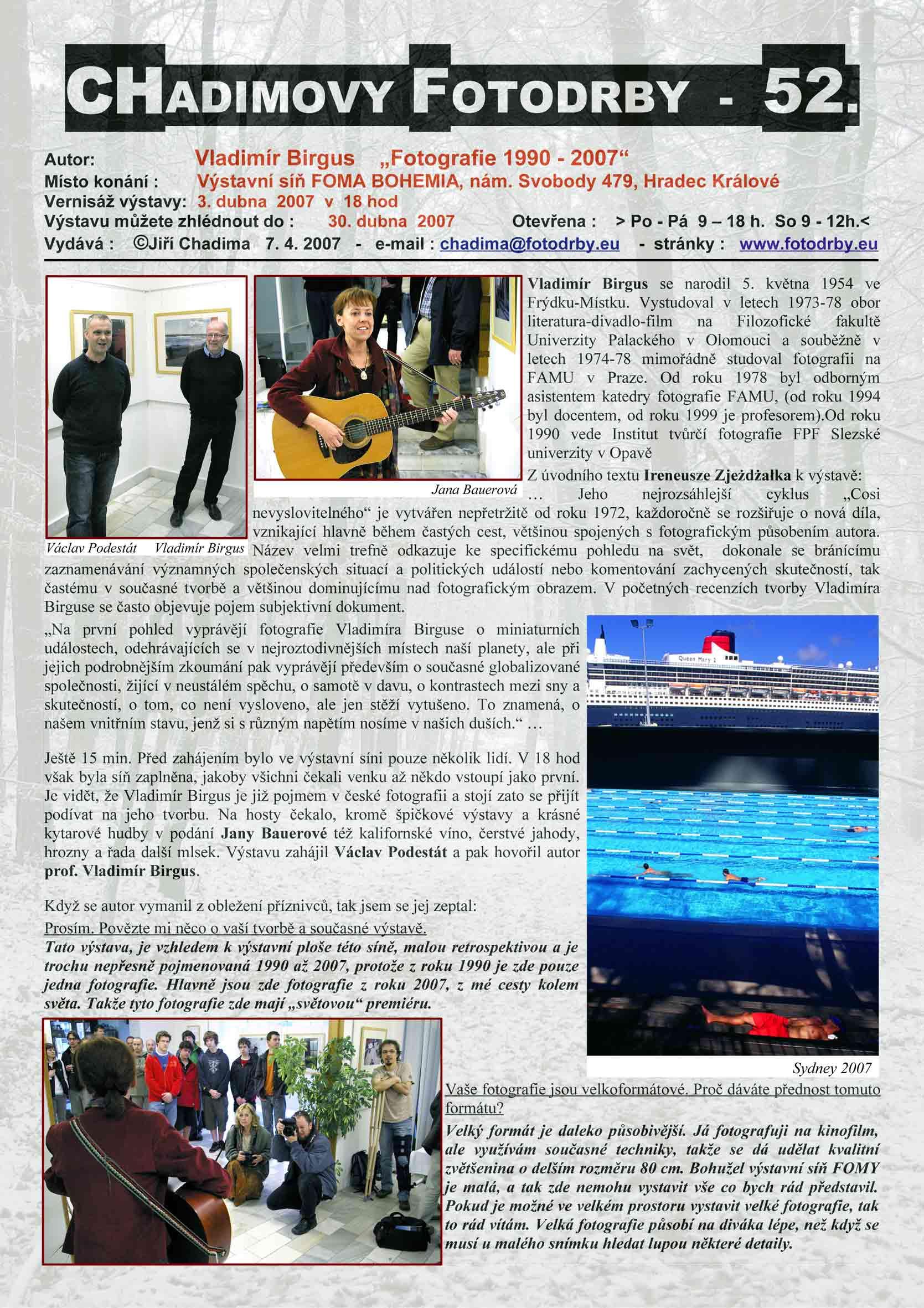 "Fotorevue 52 – Vladimír Birgus ""Fotografie 1990 – 2007"