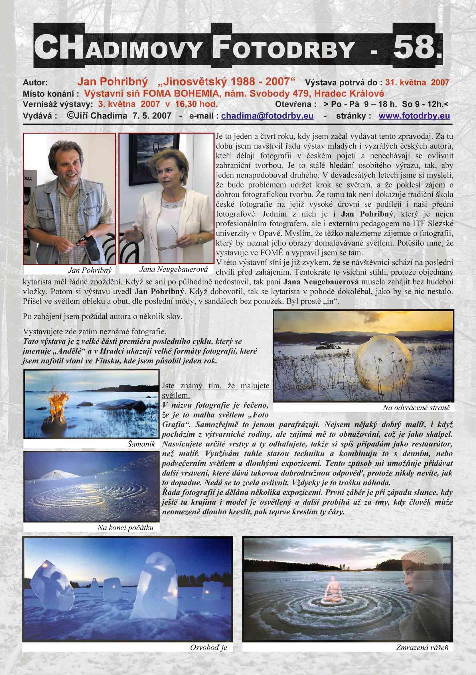 """Fotorevue 58 – Jan Pohribný """"Jinosvětský 1988 – 2007"""""""