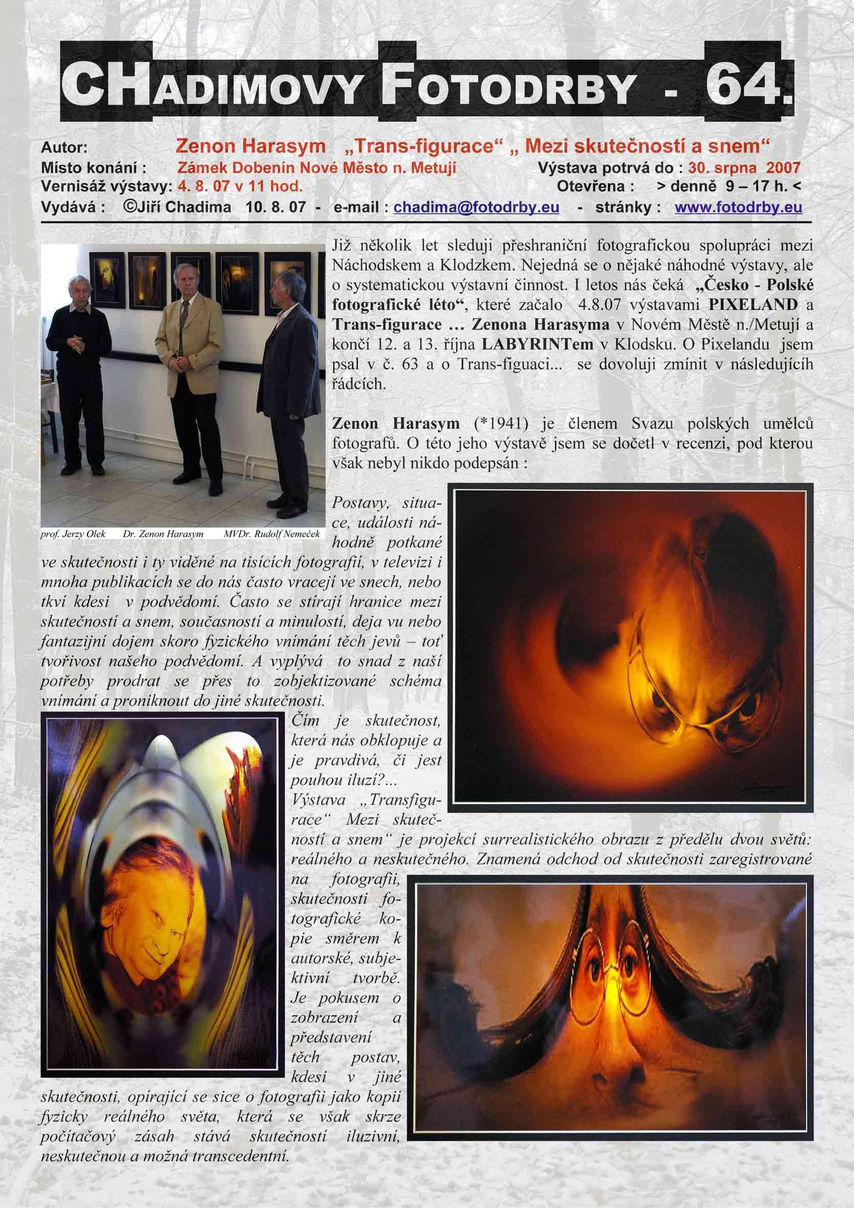 """Fotorevue 64 – Zenon Harasym """"Trans-figurace"""" """"Mezi skutečností a snem"""""""