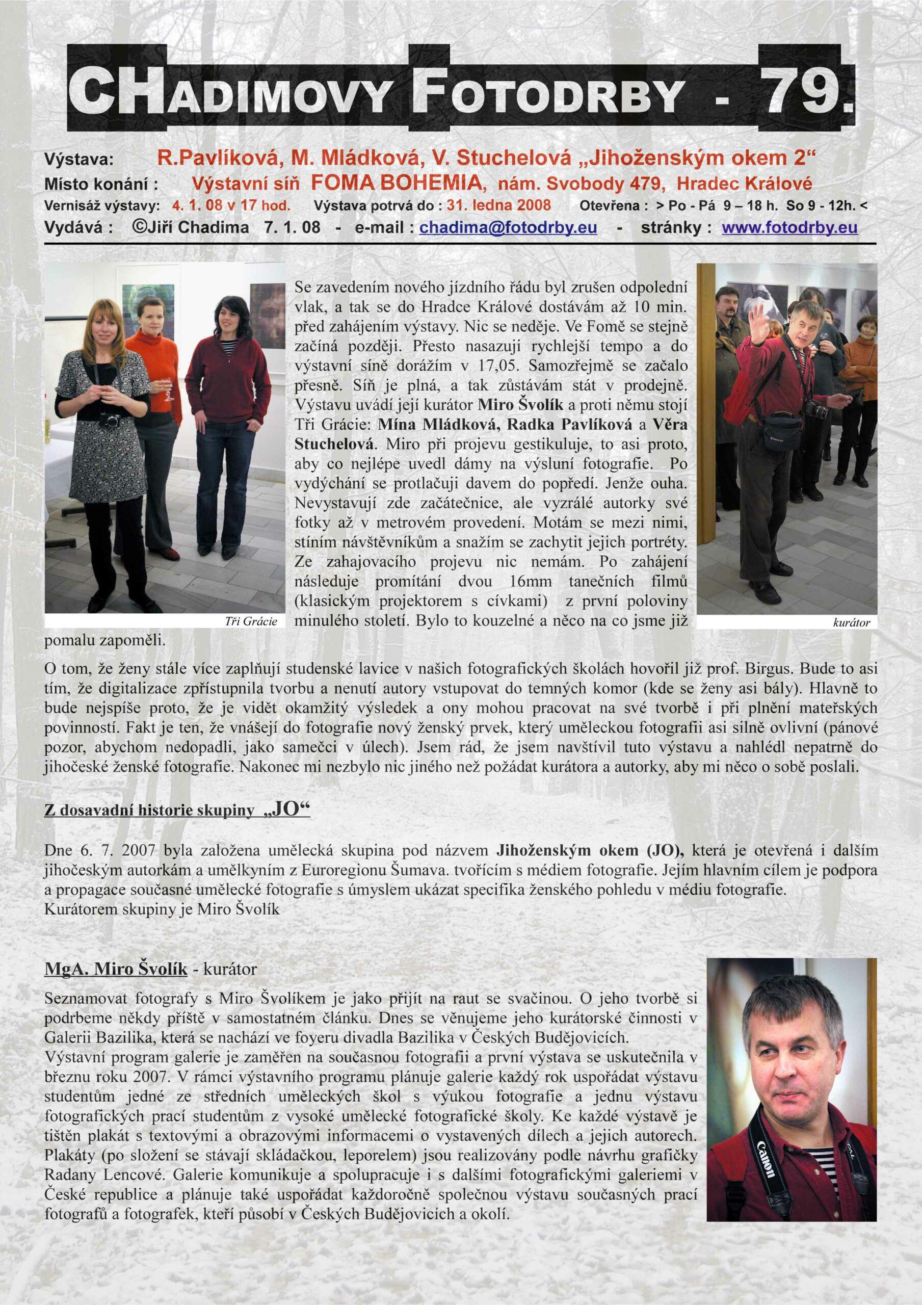"""Fotorevue 79 – R.Pavlíková, M. Mládková, V. Stuchelová """"Jihočeským oknem 2"""""""