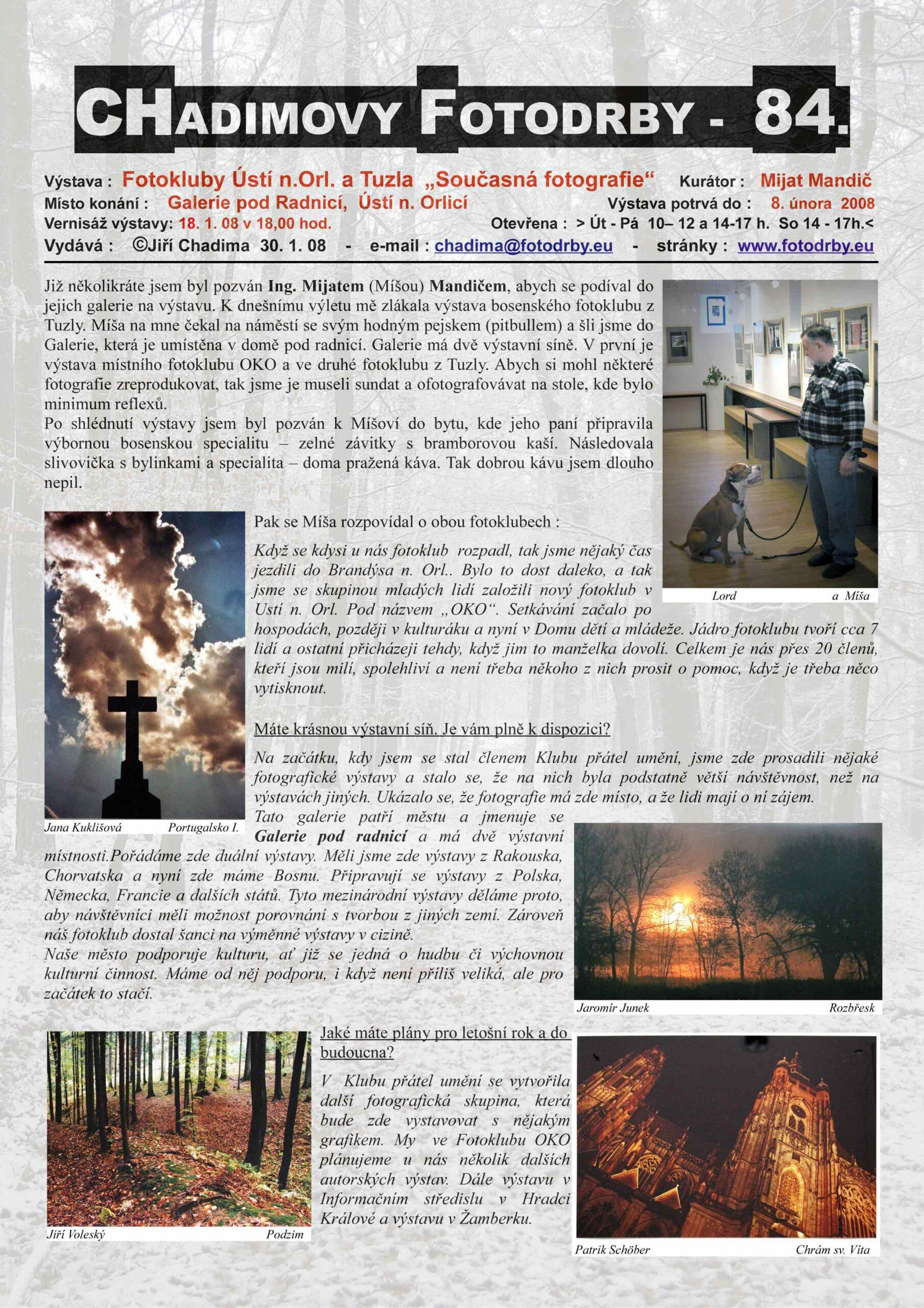 "Fotorevue 84 – Fotokluby Ústí n.Orl. a Tuzla ""Současná fotografie"""