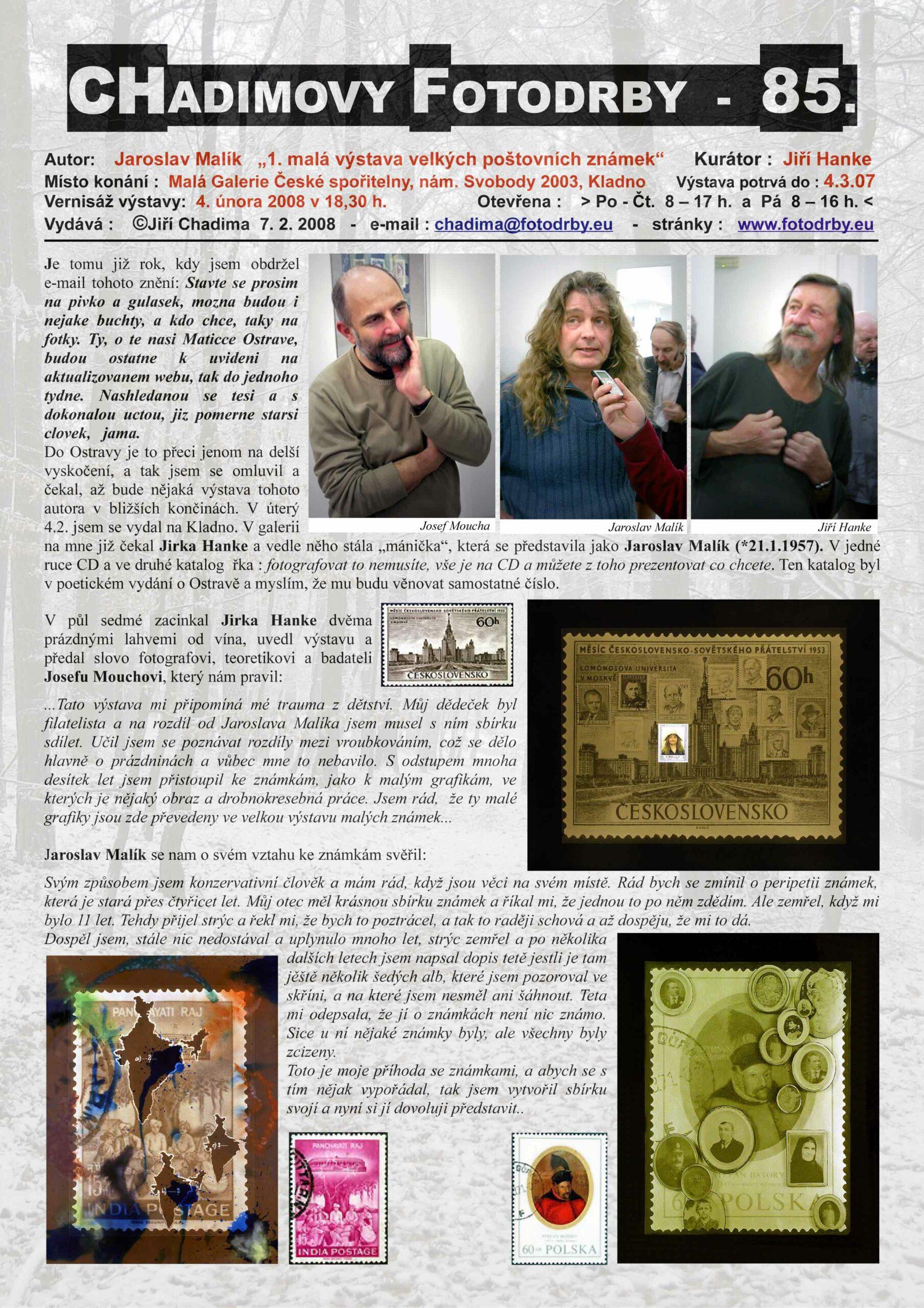"""Fotorevue 85 – Jaroslav Malík """"1. malá výstava velkých poštovních známek"""""""