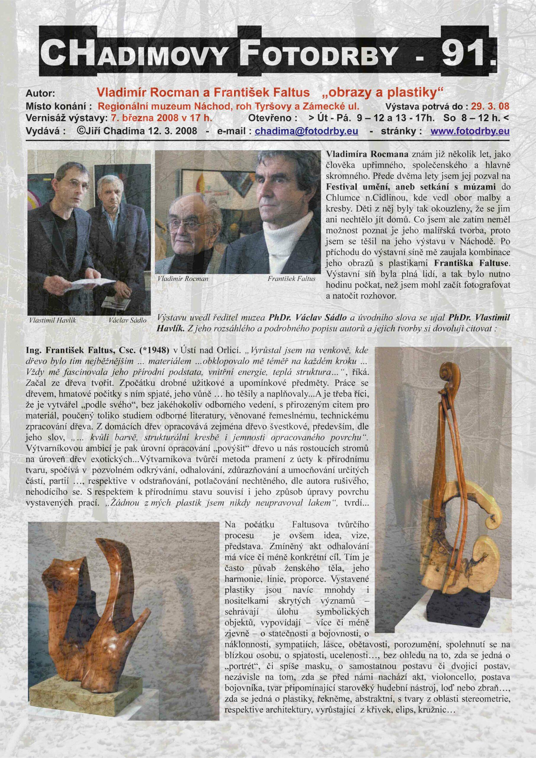 """Fotorevue 91 – Vladimír Rocman a František Faltus """"obrazy a plastiky"""""""