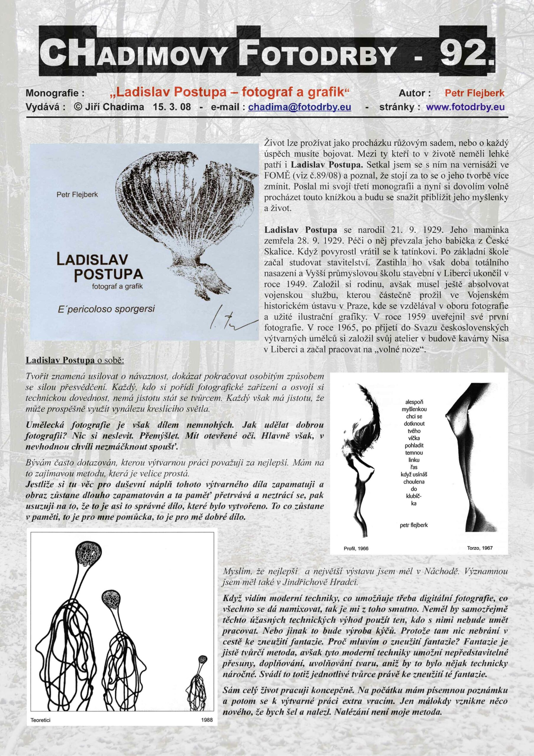 "Fotorevue 92 – ""Ladislav Postupa – fotograf a grafik"""
