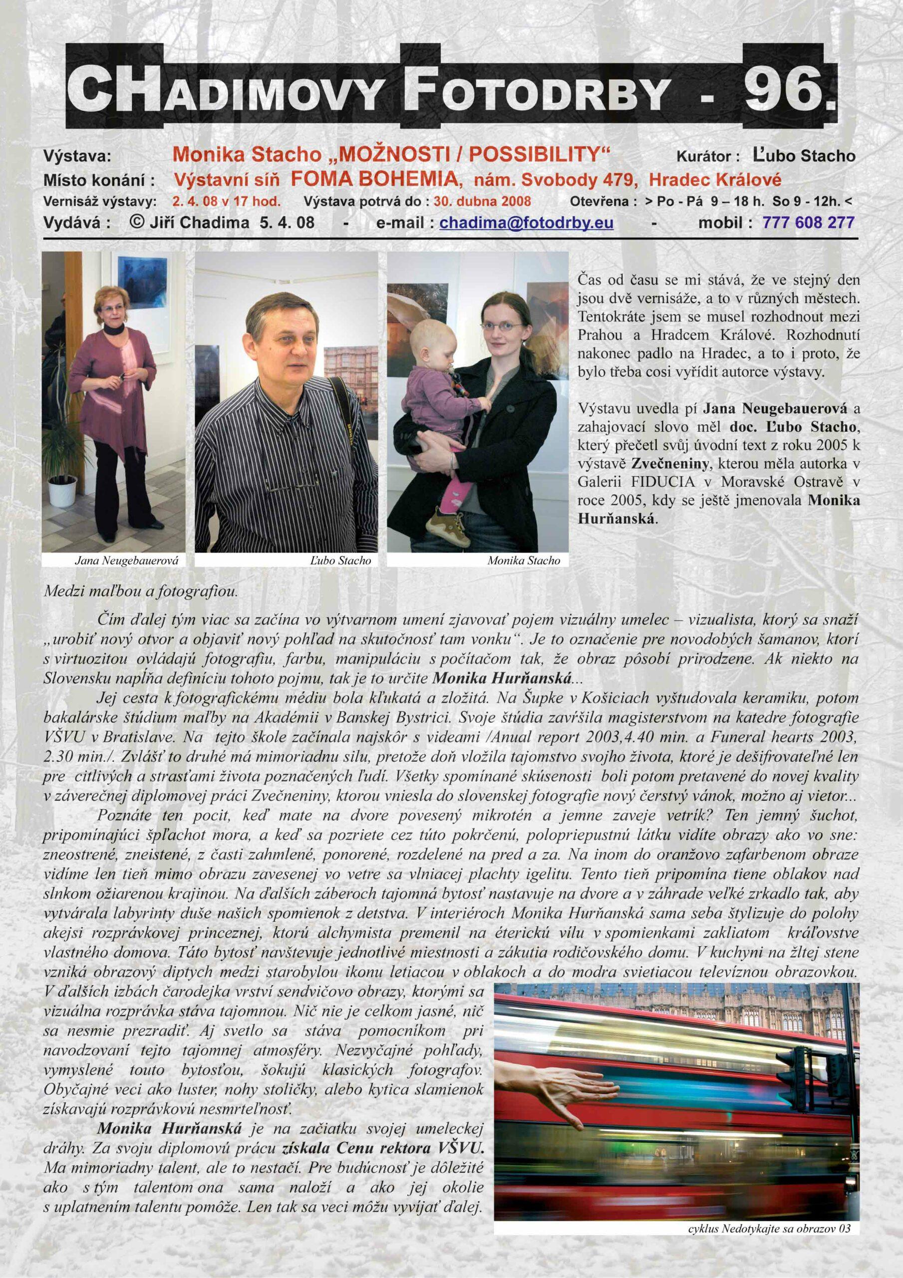 "Fotorevue 96 – Monika Stacho ""Možnosti/Possibility"""