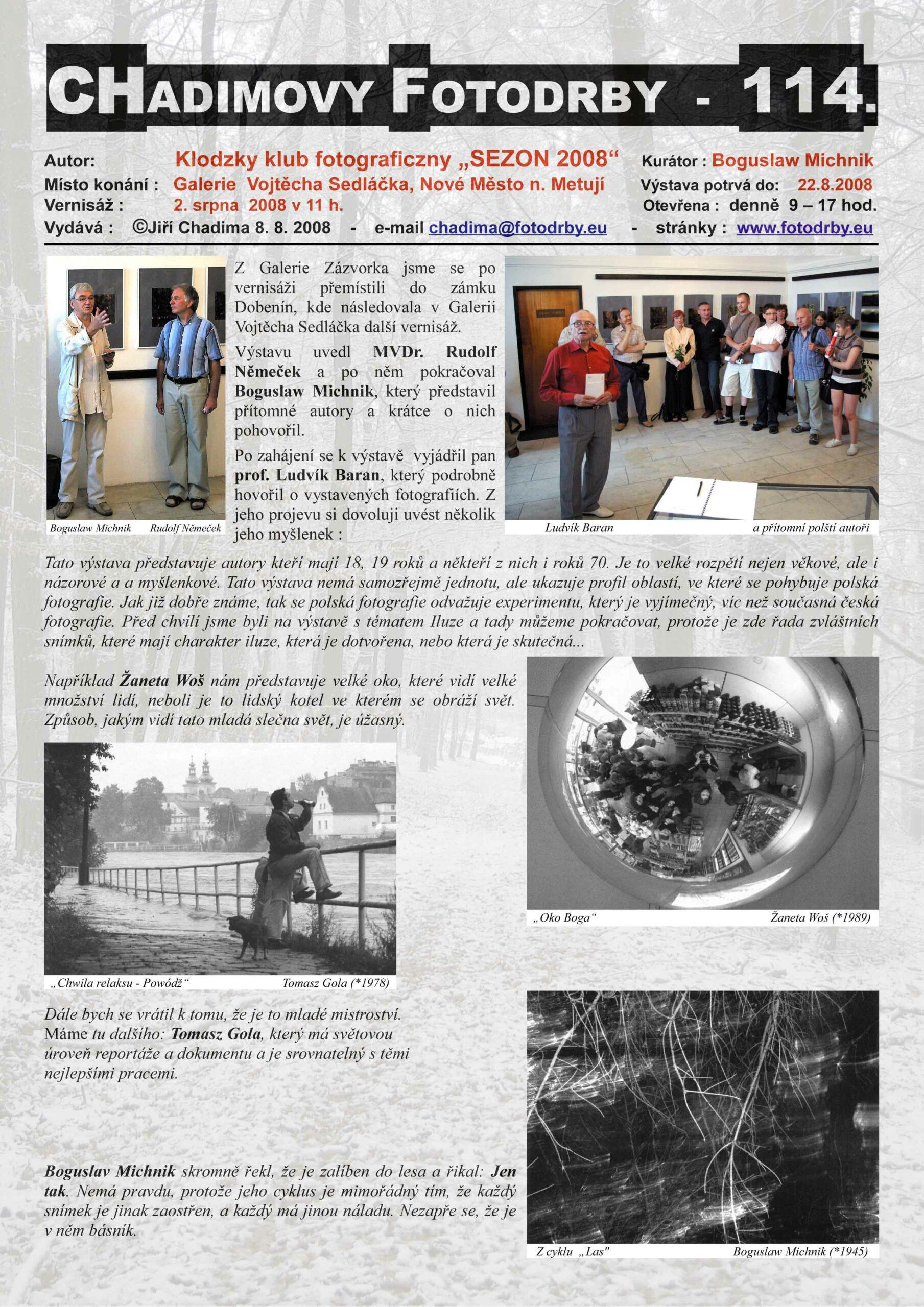 """Fotorevue 114 – Klodsky klub fotograficzny """"SEZON 2008"""""""