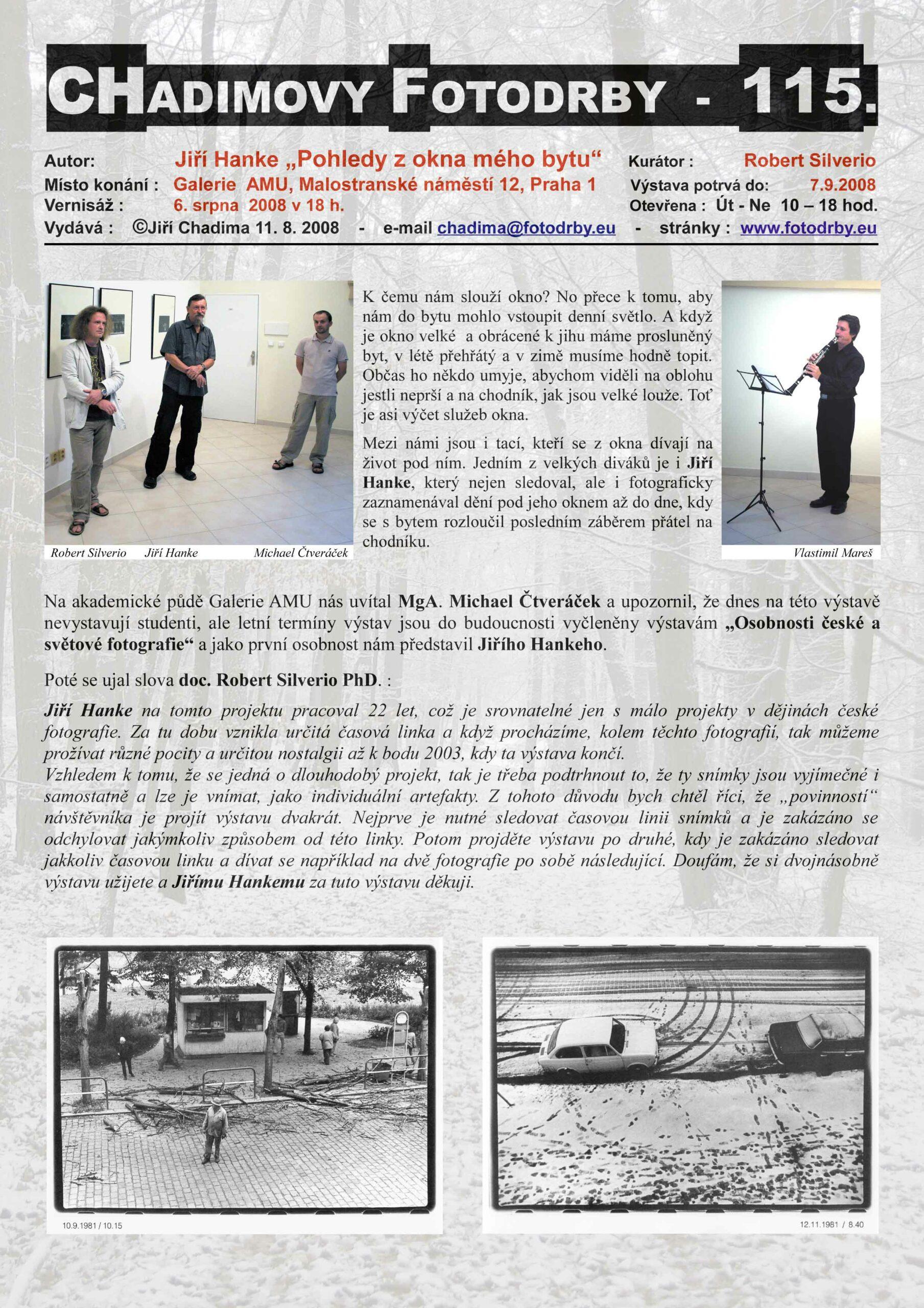 """Fotorevue 115 – Jiří Hanke """"Pohledy z okna mého bytu"""""""