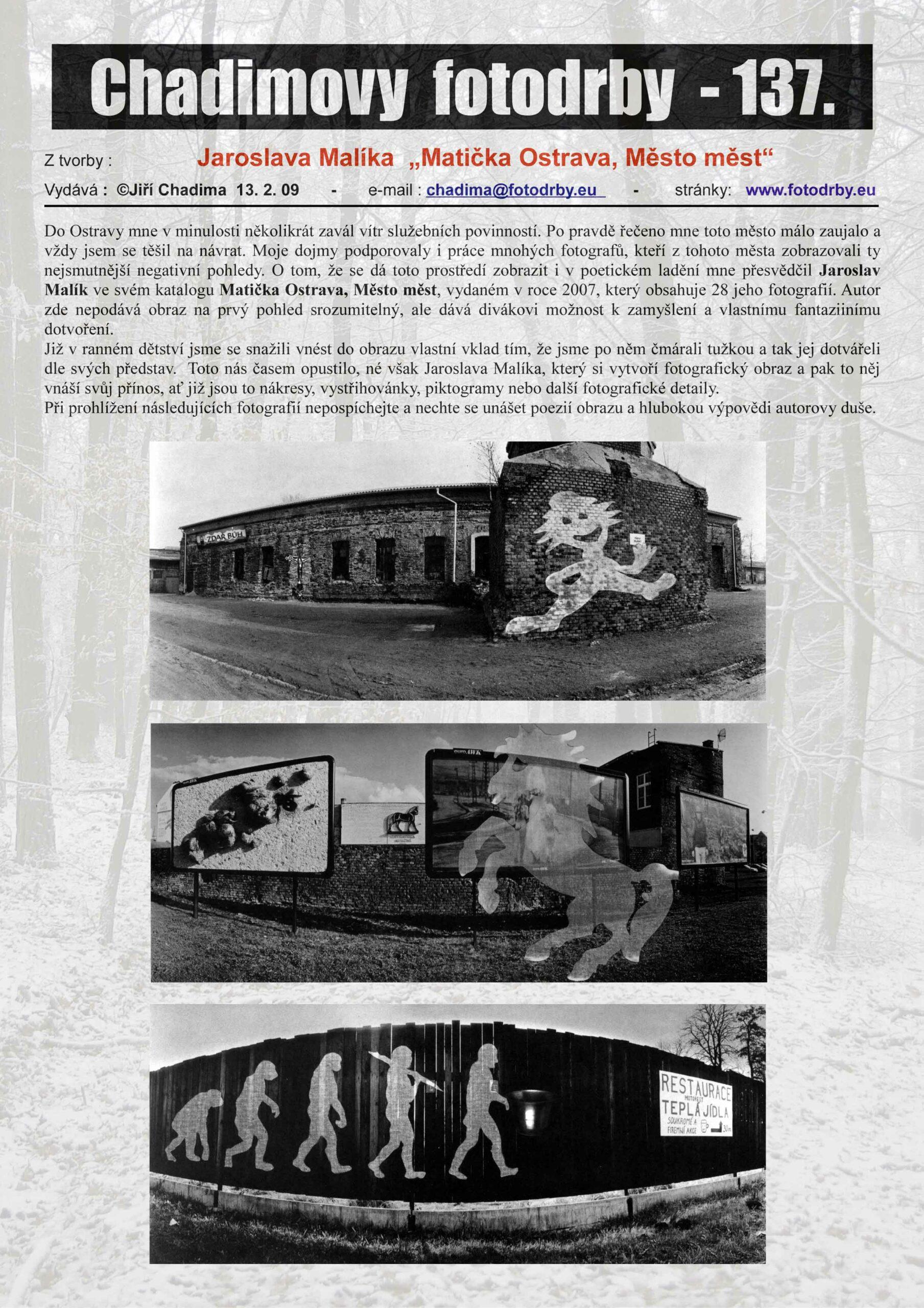 """Fotorevue 137 – Jaroslava Malíka  """"Matička Ostrava, Město měst"""""""